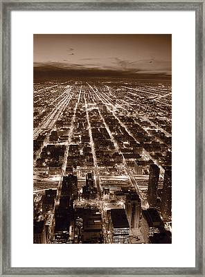 Chicago City Lights West B W Framed Print by Steve Gadomski