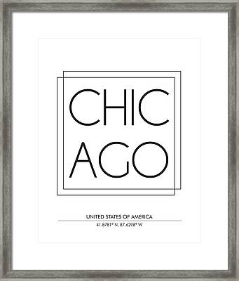Chicago City Print With Coordinates Framed Print