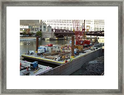 Chicago Construction Barge Pa Framed Print by Thomas Woolworth