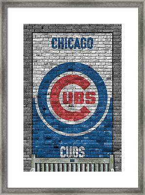 Chicago Cubs Brick Wall Framed Print by Joe Hamilton