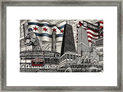 Chicago Cubs, Ernie Banks, Wrigley Field Framed Print by Omoro Rahim