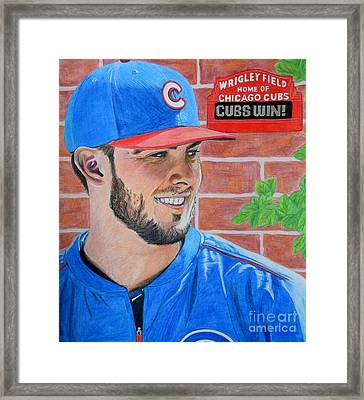 Chicago Cubs Kris Bryant Portrait Framed Print by Melissa Goodrich