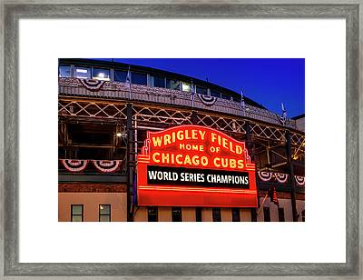 Chicago Cubs Win Framed Print by Andrew Soundarajan
