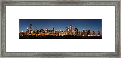 Chicago Downtown Skyline At Night Framed Print by Semmick Photo