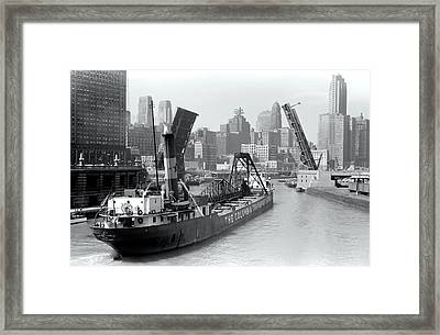 Framed Print featuring the photograph Chicago Draw Bridge 1941 by Daniel Hagerman