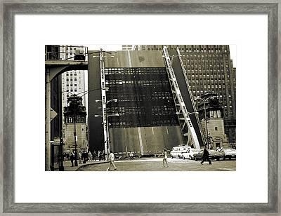 Old Chicago Draw Bridge - Vintage Photo Art Print Framed Print