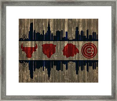 Chicago Flag Barn Door Framed Print