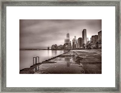 Chicago Foggy Lakefront Bw Framed Print by Steve Gadomski