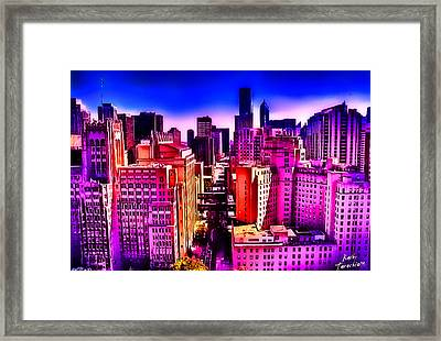Framed Print featuring the photograph Chicago Glowing by Kathy Tarochione