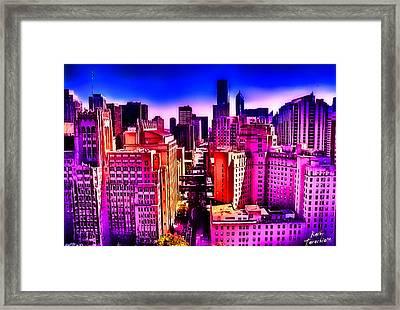 Chicago Glowing Framed Print by Kathy Tarochione