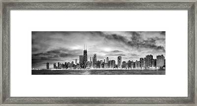 Chicago Gotham City Skyline Black And White Panorama Framed Print