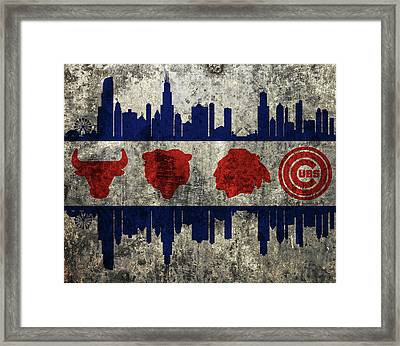Chicago Grunge Flag Framed Print by Dan Sproul