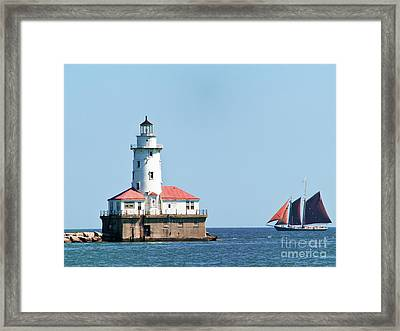 Chicago Harbor Lighthouse And A Tall Ship Framed Print