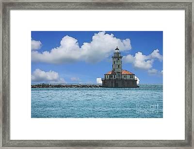 Chicago Harbor Lighthouse Painterly Framed Print by Jennifer White