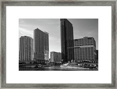 Chicago Heading Up The North River Branch Bw Framed Print by Thomas Woolworth