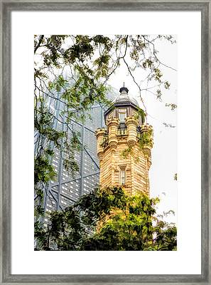 Chicago Historic Water Tower Fog Framed Print