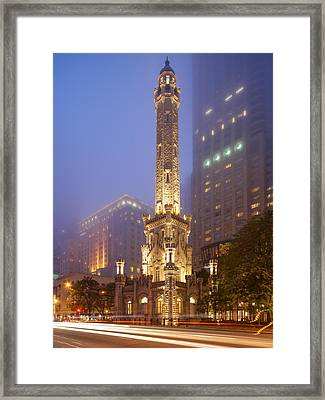 Chicago Historic Water Tower On Michigan Avenue Foggy Twilight - Chicago Illinois Framed Print