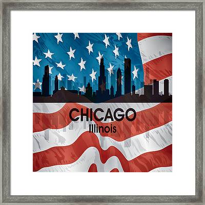 Chicago Il American Flag Squared Framed Print