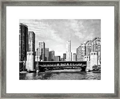 Chicago Il - Lake Shore Drive Bridge Black And White Framed Print by Susan Savad