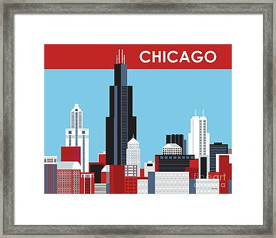 Chicago Illinois Horizontal Skyline Framed Print by Karen Young