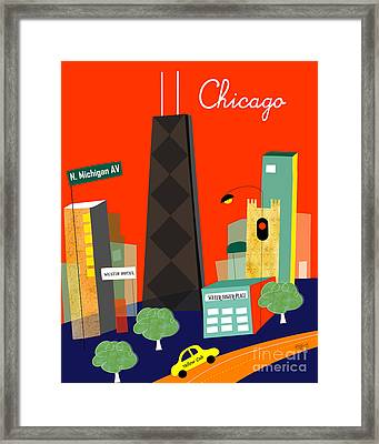 Chicago Illinois Vertical Skyline - Michigan Ave. Framed Print by Karen Young