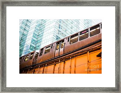 Chicago L Elevated Train  Framed Print by Paul Velgos