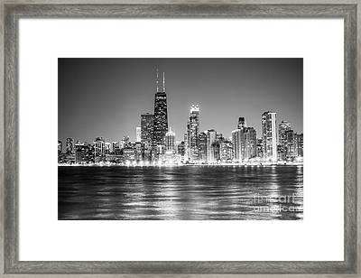 Chicago Lakefront Skyline Black And White Photo Framed Print by Paul Velgos