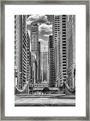 Chicago Lasalle Street Black And White Framed Print