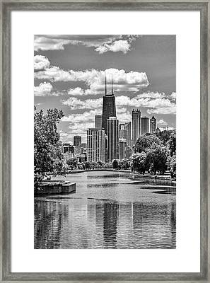 Chicago Lincoln Park Lagoon Black And White Framed Print