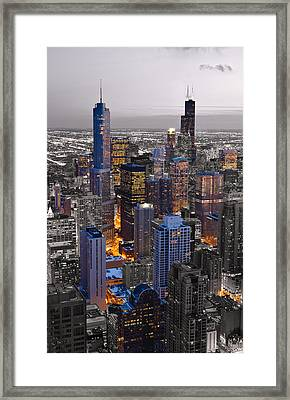 Chicago Loop Sundown Bw Color Blend Framed Print by Steve Gadomski