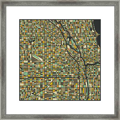 Chicago Map Framed Print by Jazzberry Blue