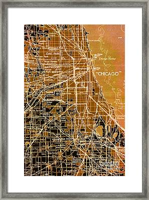 Chicago Map Year 1957 Framed Print