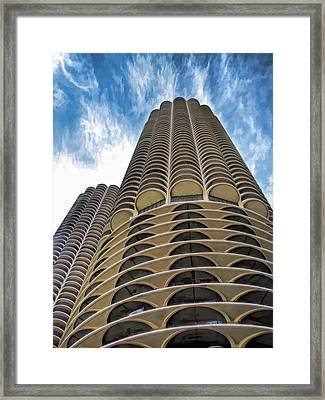 Framed Print featuring the painting Chicago Marina Towers by Christopher Arndt