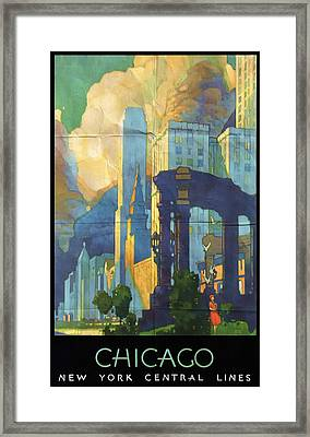 Chicago - New York Central Lines - Vintage Poster Folded Framed Print