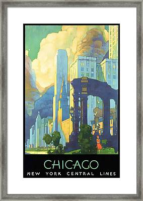 Chicago - New York Central Lines - Vintage Poster Restored Framed Print