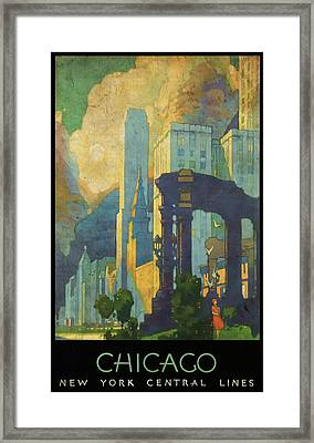 Chicago - New York Central Lines - Vintage Poster Vintagelized Framed Print