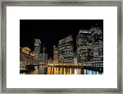Chicago Night Skyline From Wolf Point Framed Print by Sven Brogren