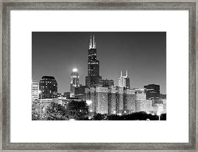 Chicago Night Skyline In Black And White Framed Print by Paul Velgos