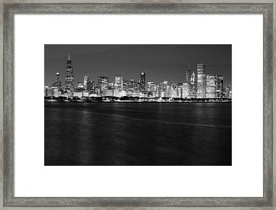 Chicago Night Skyline In Black And White Framed Print by Twenty Two North Photography