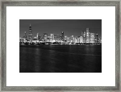 Chicago Night Skyline In Black And White Framed Print
