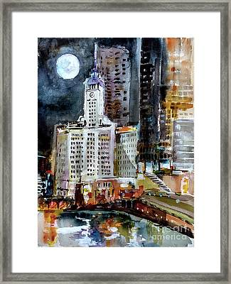 Framed Print featuring the painting Chicago Night Wrigley Building Art by Ginette Callaway