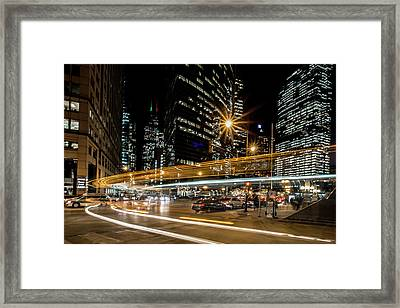 Chicago Nighttime Time Exposure Framed Print