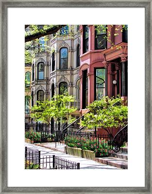 Framed Print featuring the painting Chicago North Shore Greystones by Christopher Arndt
