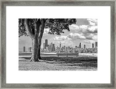 Chicago North Skyline Park Black And White Framed Print