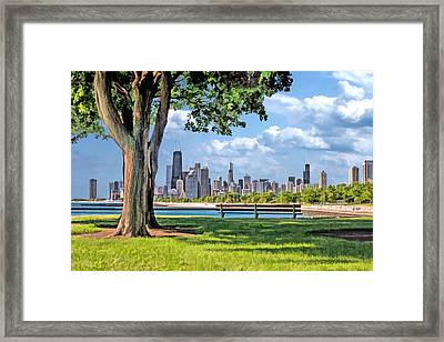 Framed Print featuring the painting Chicago North Skyline Park by Christopher Arndt
