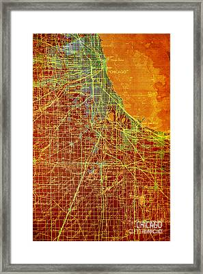 Chicago Old Map Framed Print