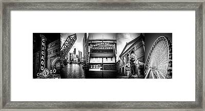 Chicago Panorama Collage High Resolution Photo Framed Print by Paul Velgos