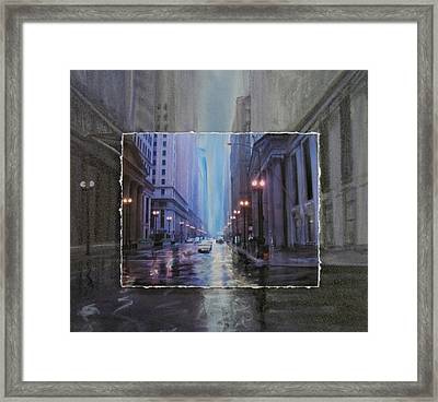 Chicago Rainy Street Expanded Framed Print by Anita Burgermeister