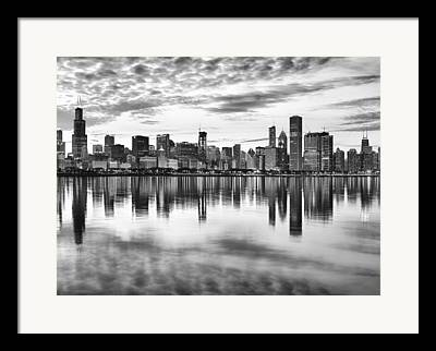 Chicago Skyline Bw Framed Prints