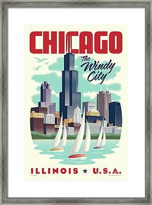 Chicago Retro Travel Poster Framed Print by Jim Zahniser
